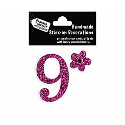Express Yourself Number Sticker 9 Pink