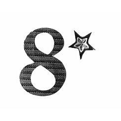 Express Yourself Number Sticker 8 Silver