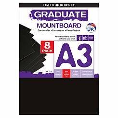 Graduate Mount Board A3 1250 Microns 8 Pack Black