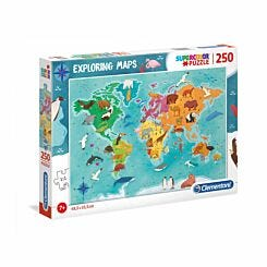Clementoni Exploring Maps Animals in the World 250 Piece Puzzle