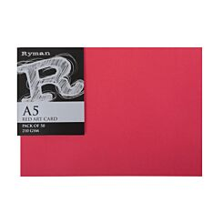 Ryman Art Card A5 210gsm Pack of 50 Red