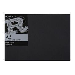 Ryman Art Card A5 210gsm Pack of 50 Black