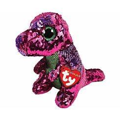 ty Stompy Pink Dinosaur Flippable Beanie Boo