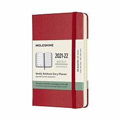Moleskine Academic Hardcover Diary Week to View Pocket 2021 Red