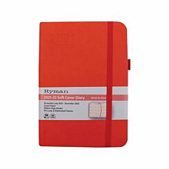 Ryman Soft Cover Mid-Year Diary Week to View A5 2021-2022 Coral