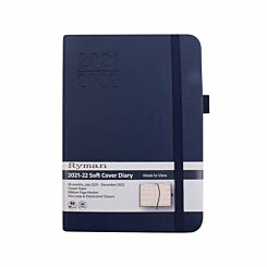 Ryman Soft Cover Mid-Year Diary Week to View Navy A6 2021 Navy