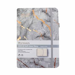 Ryman Soft Cover Mid-Year Marble Diary Week to View A5 2021 Grey
