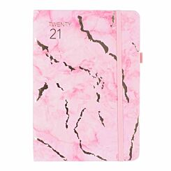Ryman Marble Soft Cover Diary Week to View A5 2020-2021 Pink
