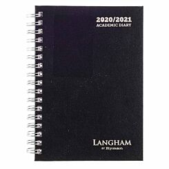 Langham Wiro Diary Week to View A6 2020-2021 Black