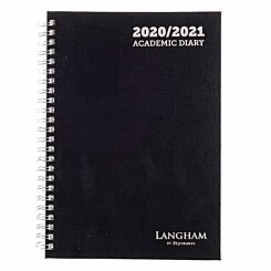 Langham Wiro Diary Week to View A5 2020-2021 Black