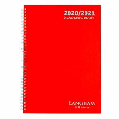 Langham Wiro Diary Week to View A4 2020-2021 Red