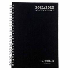 Ryman Langham Wiro Academic Diary Week to View A5 2021 Black