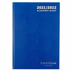 Ryman Langham Academic Diary Week to View A4 2021 Navy