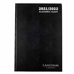 Ryman Langham Academic Appointments Diary Day to View A4 2021 Black