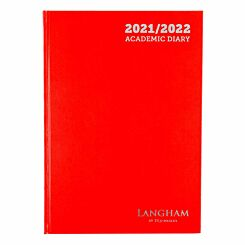 Ryman Langham Academic Appointments Diary Day to View A4 2021 Red