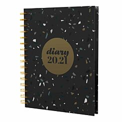 Collins Terrazzo Diary Page a Day A5 2020-2021 Black