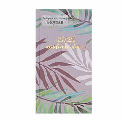 Ryman Watercolour Leaf Mid-Year Diary Week to View Slim 2021-2022