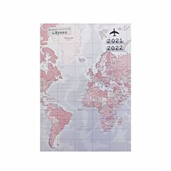 Ryman World Map Mid-Year Diary Day Per Page A5 2021-2022
