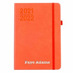 Ryman Personalised Mid-Year Diary Week to View A5 2021-2022 Silver Foil Coral Orange