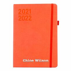 Ryman Personalised Mid-Year Diary Day to View A5 2021-2022 Silver Foil Coral Orange