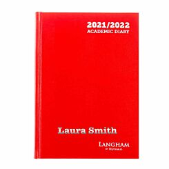 Personalised Langham Academic Appointments Diary Day to View A5 2021-2022 Red Silver
