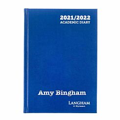 Personalised Langham Academic Appointments Diary Day to View A5 2021-2022 Silver Foil Navy
