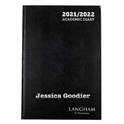 Personalised Langham Academic Appointments Diary Day to View A4 2021-2022 Silver Foil Black