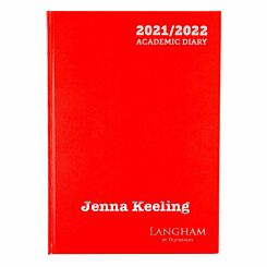 Personalised Langham Academic Appointments Diary Day to View A4 2021-2022 Red Silver