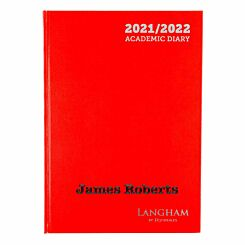 Personalised Langham Academic Appointments Diary Day to View A4 2021-2022 Red Black