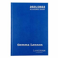 Personalised Langham Academic Appointments Diary Day to View A4 2021-2022 Silver Foil Navy
