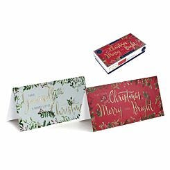 Tom Smith Text Luxury Slim Christmas Cards Pack of 20