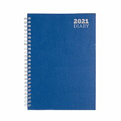 Ryman Wire Bound Diary Week to View A5 2021 Blue