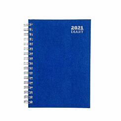Ryman Wire Bound Diary Week to View A6 2021 Blue