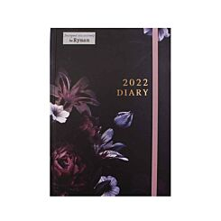 Ryman Dark Floral Diary Day per Page A5 2022