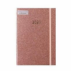 Ryman Rose Gold Glitter Diary A5 Week to View 2021