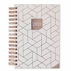 Matilda Myres Rose Gold Geometric Diary Day to View A5 2021 Ivory