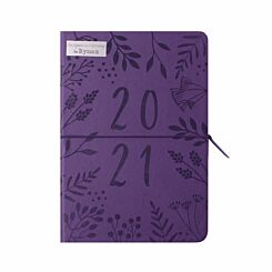 Ryman Embossed Diary A5 Day per Page 2021 Purple