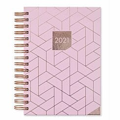 Matilda Myres Rose Gold Geometric Diary Day to View A5 2021 Light Pink