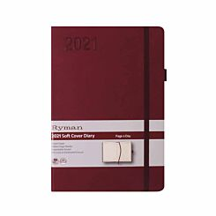 Ryman Soft Touch Diary Day to View A5 2021 Berry