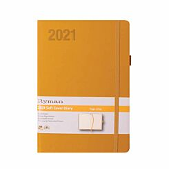 Ryman Soft Touch Diary Day to View A5 2021 Ochre