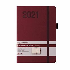 Ryman Soft Touch Diary Day to View A6 2021 Berry