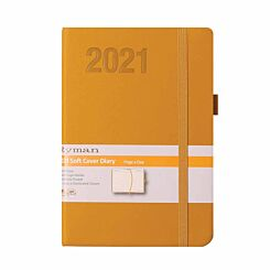 Ryman Soft Touch Diary Day to View A6 2021 Ochre