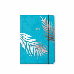 Matilda Myres Rose Gold Fern Diary Day to View A6 2021 Teal