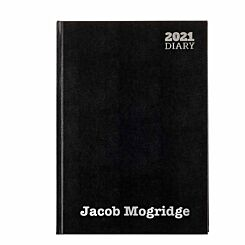 Ryman LA41 Personalised Diary Day to View A4 2021 Black Silver