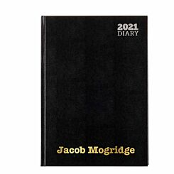 Ryman LA41 Personalised Diary Day to View A4 2021 Black Gold