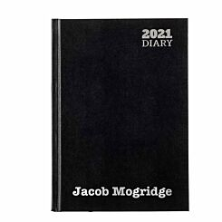 Ryman LA51 Personalised Diary Day to View A5 2021 Black Silver