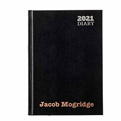 Ryman LA51 Personalised Diary Day to View A5 2021 Black Rose Gold