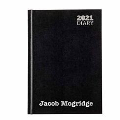 Ryman LA53 Personalised Diary Week to View A5 2021 Black Silver