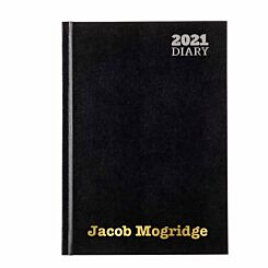 Ryman LA53 Personalised Diary Week to View A5 2021 Black Gold