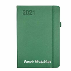 Ryman Personalised Soft Touch Diary Day to View A5 2021 Green Silver